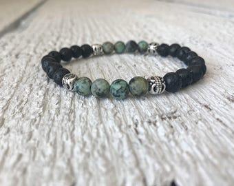 beaded bracelet, gemstone bracelet, lava bead bracelet, essential oil bracelet, diffuser bracelet, gift for her, stretch bracelet,