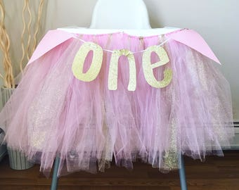 Pink and gold high chair tutu
