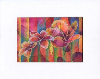 Matted Mixed Media Illustration of Three Plumeria Blooms