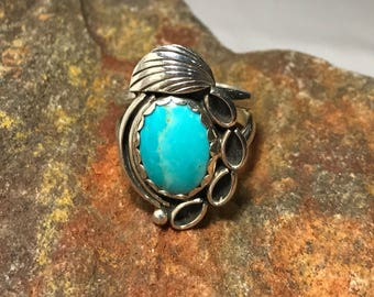 Navajo Turquoise & Sterling Silver Feather Ring