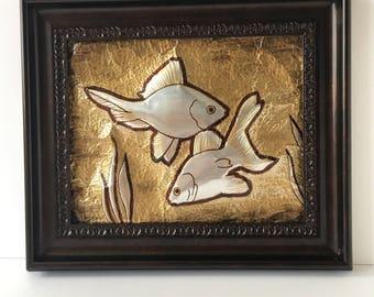 Embossed Metal Wall Art, 'GoldFish Pair', Handmade