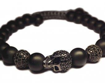 Black skull shamballa bracelet