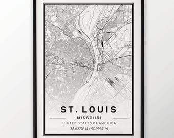 St Louis City Map Print Modern Contemporary poster in sizes 50x70 fit for Ikea frame 19.5 x 27.5 All city available London, New York Paris