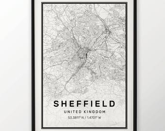 Sheffield City Map Print Modern Contemporary poster in sizes 50x70 fit for Ikea frame 19.5 x 27.5 All city available London, New York Paris