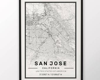 San Jose City Map Print Modern Contemporary poster in sizes 50x70 fit for Ikea frame 19.5 x 27.5 All city available London New York Paris