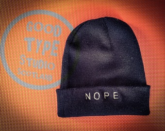 NOPE - embroidered beanie hat