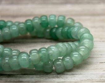 "Aventurine Rondelle Gemstone Beads 8"" strand (5mm x 8mm beads, 2.5 mm hole)"