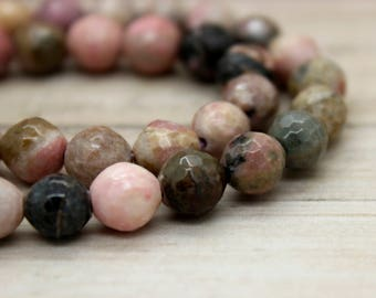 Rhodonite Round Faceted Gemstone Beads (8mm 10mm)