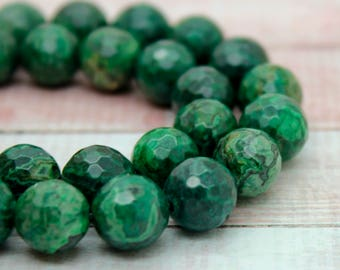 Azurite Round Faceted Gemstone Beads (10mm)