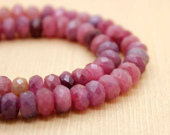 Red Ruby Natural Faceted Rondelle Beads Gemstone (4mm x 6mm, 5mm x 8mm, 5mm x 10mm, 5mm x 12mm, 6mm x 14mm)