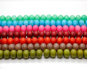 Dye Jade Smooth Rondelle Gemstone Beads 13mm x 17mm (Olive, Flame, Burgundy, Pink, Blue, Green - Full Strand)