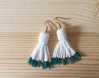 Handmade White and Turquoise Seed Bead Tassel Drop Earrings