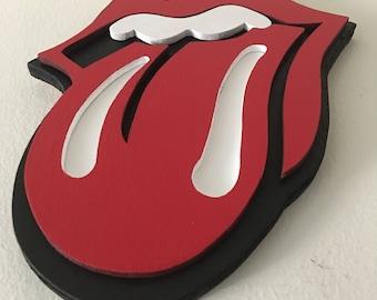 "Rolling Stones ""Famous Hot Lips"" Amazing 3D Wood Piece"