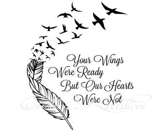 Wings were ready etsy for Your wings were ready but my heart was not tattoo