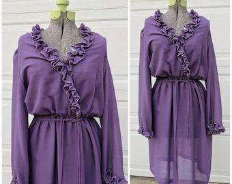 70's Vintage Deep Purple Secretary Dress w Ruffles