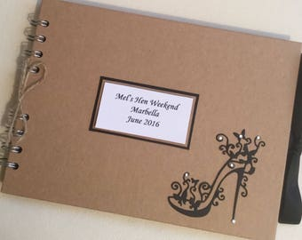 Personalised Hen Do Night Scrapbook Photo Album Guest Book Any Occasion Birthday Hand Made A5 Kraft