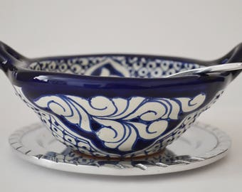 Talavera and pewter Serving set with spoon.