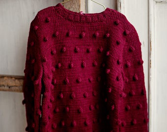 Babies/Children's/Toddler's merino wool sweater, handknitted sweater, popcorn sweater, pullower, cardigan