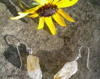 Citrine Earrings, Raw Citrine Dangle Earrings with Solid Sterling Silver Wire, November Birthsone, Orange Earrings, Healing Crystal Jewelry