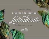 Digital Gemstones - Labradorite Clip Art - Gemstone Specimens - Magical Stones- Iridescent Crystal - Natural Digital Elements - Gemstone Art