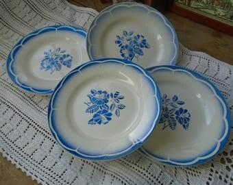 Dessert plate - Digoin Sarreguemines - France - set of 4 - 40's