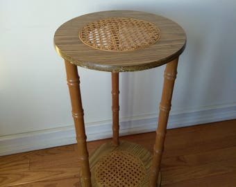 Vintage Wicker and Wood Three Legged and Two Round Wicker Centered Shelves Plant Stand