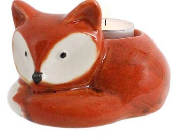 Curled Up Fox Tealight Holder
