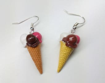 Varied ice-cream earrings mini meal Earrings icecream Mini Food Jewelry