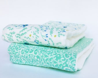 Flannel Cloth Diaper Burp Cloth - Turquoise Floral - Set of 2 - Baby Girl