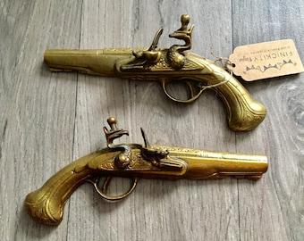 Pair of Pistol Ornaments Vintage Brass