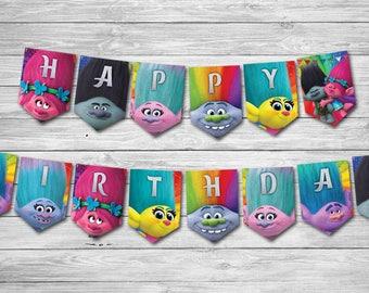 INSTANT DOWNLOAD Trolls Birthday Banner, Trolls Banner, Trolls Poppy Banner, Trolls Branch Banner, Birthday Banner, Trolls Birthday Banner