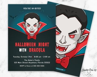 Halloween Invitation, Halloween Party Invitation, Halloween Invite, Halloween Party, Dracula Party, Dracula Invitation, Halloween Birthday