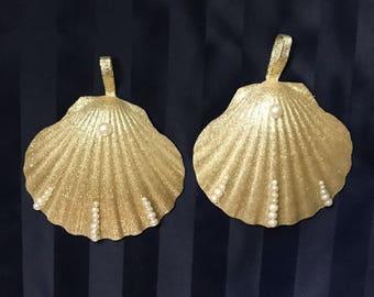 Gold seashell Christmas ornaments, Christmas in July, Gold ornaments, large Christmas ornaments