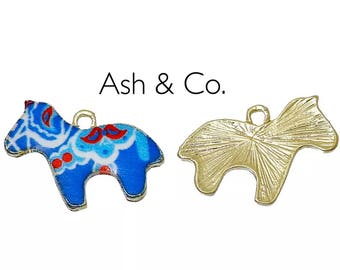 Mexican enameled horse, charms. Gold plated fixings.  3 charms.