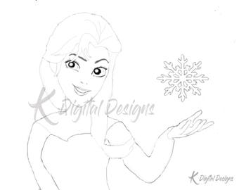 Disney's Queen Elsa Coloring Page-INSTANT DIGITAL DOWNLOAD