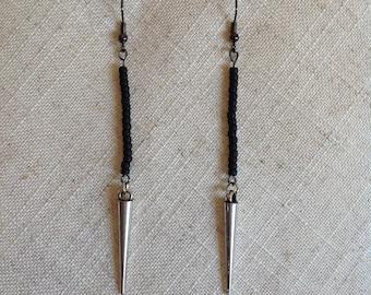 Black & Antiqued Silver Spiked Earrings