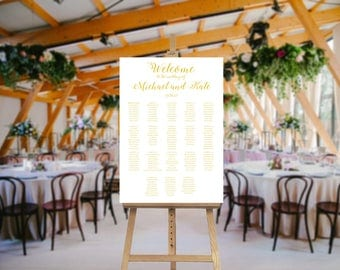 Gold Wedding Seating Chart - Wedding Seating - Seating Plan - Gold Wedding Chart - Printable Chart - Wedding Sign - Table Names