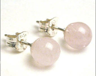 Rose Quartz - 8mm Round Studs Earrings - Sterling Silver