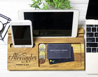 Christmas gifts for men, Personalized docking station, gift woman, desk organizer, Boyfriend Gift Ideas, Gift Ideas For Her, For Him s