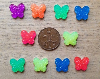 Set of 10 flat back butterflies