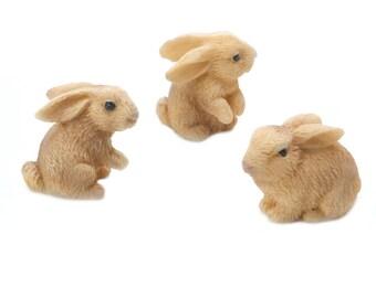 "Rabbits, 3 Piece Set, 1"" x 1"" x 1"" - Miniature Fairy Garden Dollhouse"