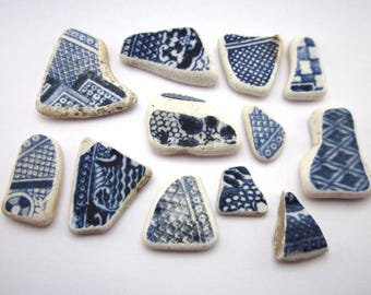 Blue and White Scottish Sea China Selection. Twelve small to medium sized pieces, all with similar lattice, weave, or criss-cross designs.