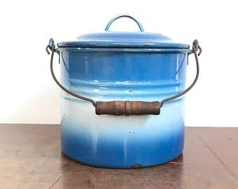 Blue and White Gradient Enamel Pot | Blue White Enamelware with Lid, Wood Handle | Farmhouse Decor | Enamelware Planter