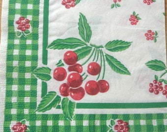 Cherries paper towel