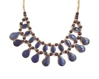 Afghan Lapis lazuli Statement Necklace, lapis lazuli jewellery jewelry, Cassidy Bib Necklace, Ethnic Tribal Necklace, bohemian, Boho Gypsy