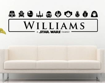 Star Wars Family Personalized Vinyl Wall Decal