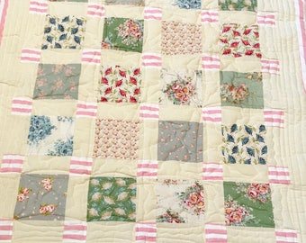 lap quilt, baby quilt, handmade quilt, cot quilt, baby shower, christening, birthday, pink candy stripe, cream, free shipping
