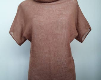 Turtle Neck Sweater Brown Short Sleeves Sweater Loose Sweater