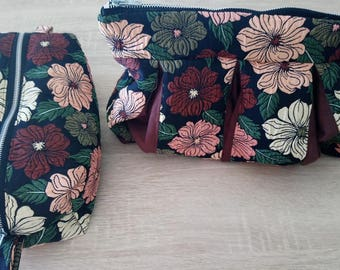 Toiletry bag, makeup bag, toilet bag, woman, hand made pouch Kit