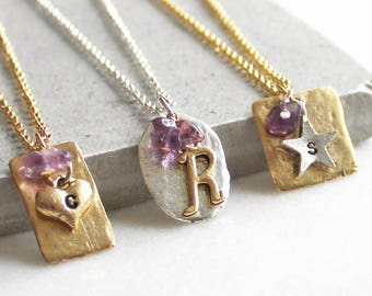 Personalised February Birthstone Pendant with Gemstones and Initials - Amethyst - Birthday - Gift for her
